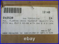 Billet Flaming Cross Velocity Stack For S&s E&g Carburetor Evo Harley-davidson