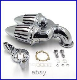 Chrome Double Bullet Air Intake Cleaner Kit For Harley CV Carburetor Delphi