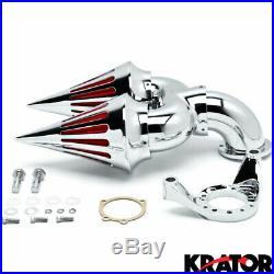 Chrome Dual Spike Air Cleaner Kits Intake Filter For Harley Davidson CV Carb