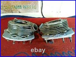 OEM 1948 Harley-Davidson Panhead Cylinder Heads Dual Linkert Carburetor Intakes